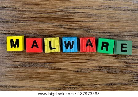 The word Malware on wooden table closeup