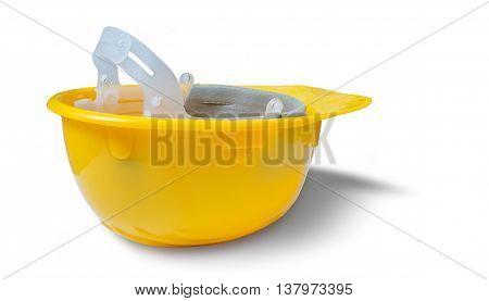 Yellow Safety Plastic Helmet Isolated On White Background. Upsid