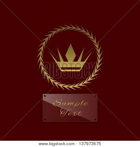 Golden crown symbol with laurel wreath and glass nameplate for simple text