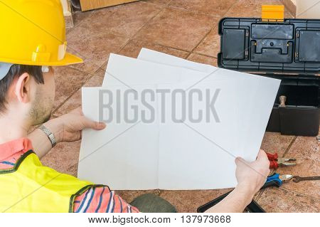 Worker Is Holding Empty Paper For Custom Message.