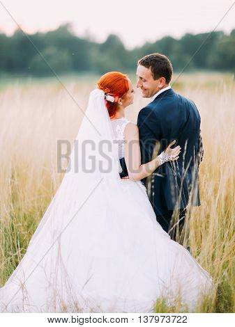 Beautiful gorgeous redhair bride and stylish handsome groom lovingly look at each other  in a sunny wheat field. Back view.
