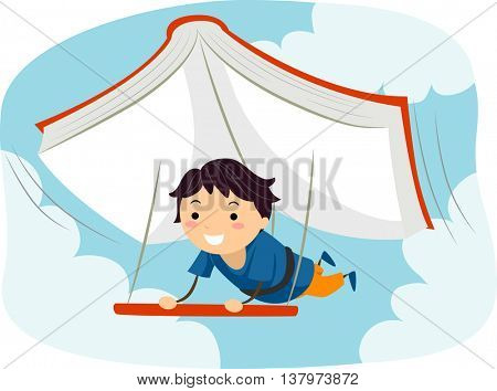 Illustration of a Boy Using a Giant Book as a Glider