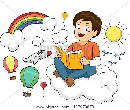 Illustration of a Boy Reading a Book of Fiction