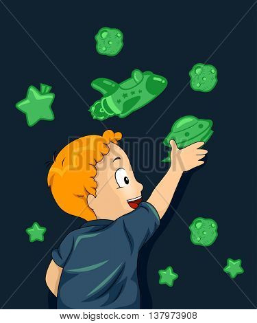 Illustration of a Boy Sticking Space Themed Glow in the Dark Stickers on His Wall