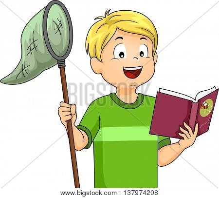 Illustration of a Boy Holding a Butterfly Net While Reading a Book
