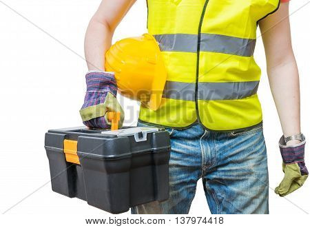Worker In Yellow Vest Holds Tool Box. Isolated On White Backgrou