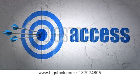 Success safety concept: arrows hitting the center of target, Blue Access on wall background, 3D rendering