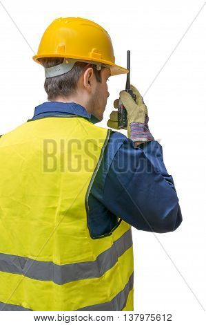 Engineer Or Construction Worker Is Using Radio. Isolated On Whit