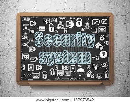 Protection concept: Chalk Blue text Security System on School board background with  Hand Drawn Security Icons, 3D Rendering