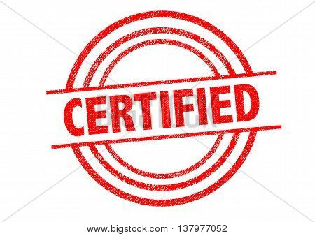 CERTIFIED Rubber Stamp over a white background.