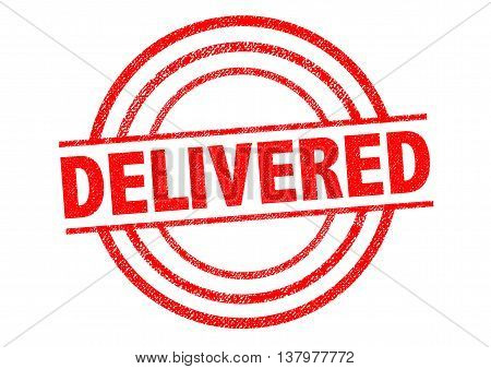 DELIVERED red Rubber Stamp over a white background.