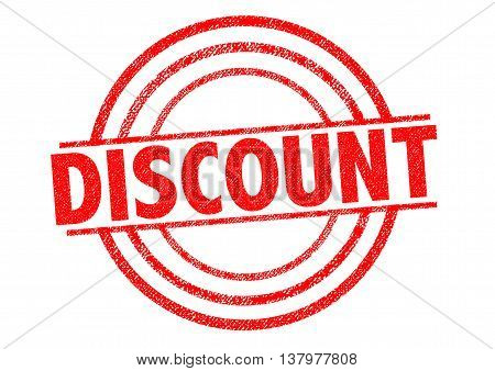 DISCOUNT red Rubber Stamp over a white background.