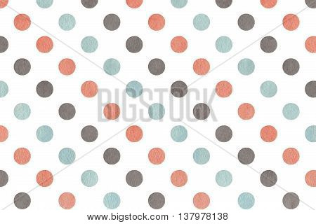Watercolor Pink, Blue And Grey Polka Dot Background.