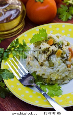 the rice is cooked with vegetables closeup