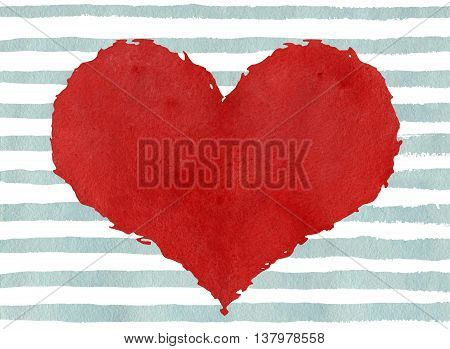 Red Watercolor Grunge Heart On Abstract Light Blue Brush Strokes Background.