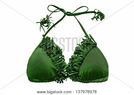 Green bikini top with fringe isolated over white