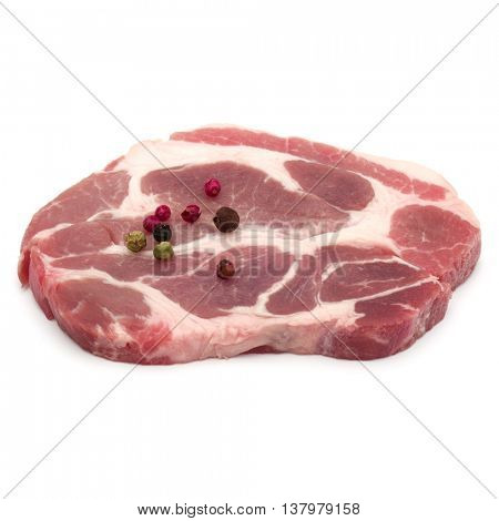 Raw pork neck chop meat with peppercorn spices garnish isolated on white background cutout