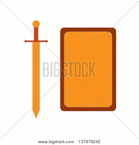 Set of sign rectangle shield and sword gold. Combat icon isolated on white background. Flat mark colorful. Symbol of a bronze elements. Logo for military and security. Stock vector illustration