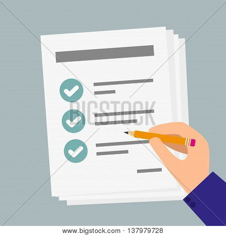 Hand holding business paper with checklist and pencil