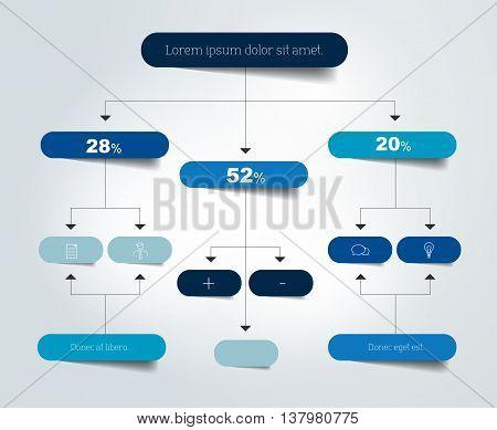 Infographics flowchart. Colored shadows scheme. Vector illustration.