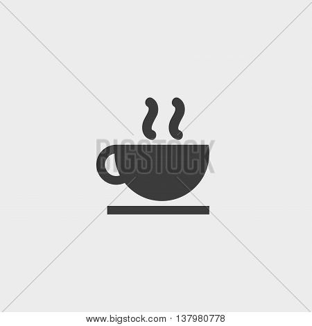 Hot drink icon in a flat design in black color. Vector illustration eps10