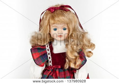 portrait ceramic vintage doll isolated on white