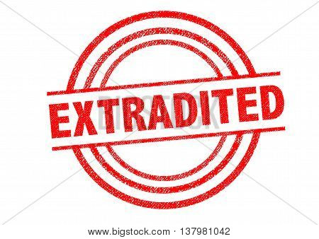 EXTRADITED Rubber Stamp over a white background.