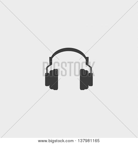 Headphones icon in a flat design in black color. Vector illustration eps10