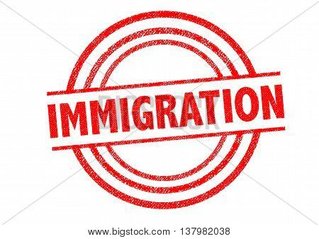 IMMIGRATION Rubber Stamp over a white background.