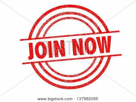 JOIN NOW Rubber Stamp over a white background.
