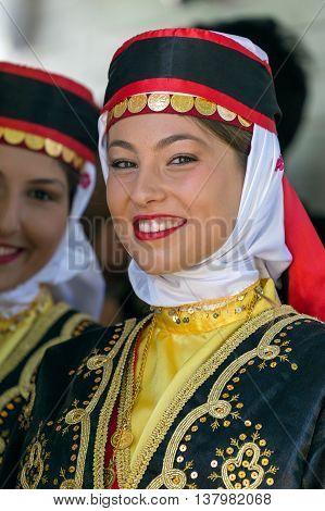 ROMANIA TIMISOARA - JULY 7 2016: Young girls from Turkey in traditional costume present at the international folk festival