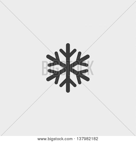 Snowflake icon in a flat design in black color. Vector illustration eps10