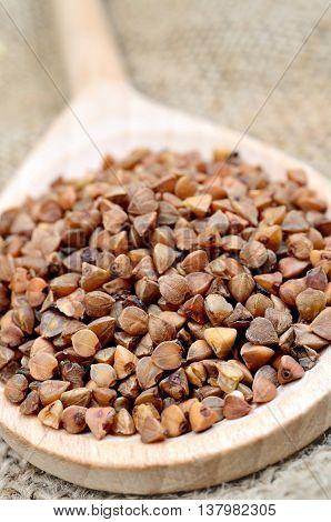 Spoon with buckwheat groats on rustic table