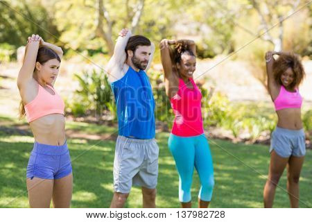 Group of friends exercising in par
