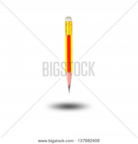 Short wooden pencil used isolated on white background.