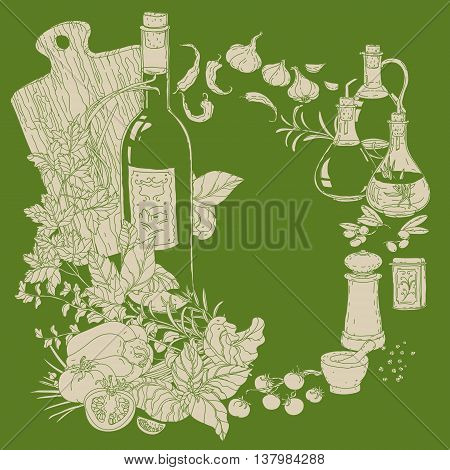 wreath of vector italian cuisine elements. Hand drawn silhouette on green background. Italian food. Vegetables and herbs, olive oil, tomatoes, garlic. Detailed, for restaurant menu or cards design
