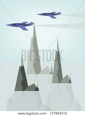 Abstract landscape design with jet planes and smoke flying above silver mountains with snow on top flat style. Digital vector image.