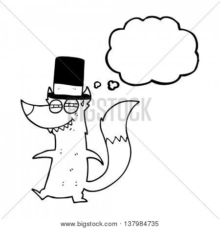 freehand drawn thought bubble cartoon little wealthy wolf