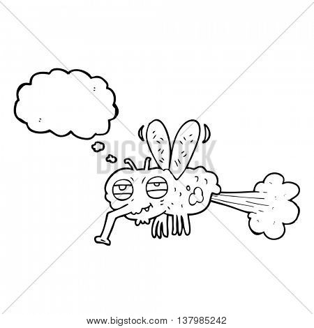 freehand drawn thought bubble cartoon gross farting fly