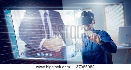 Angry businessman thump the table against man wearing virtual glass