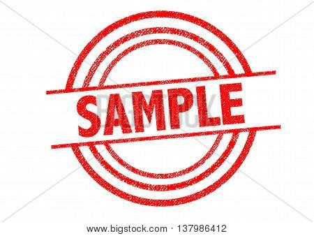 SAMPLE Rubber Stamp over a white background.