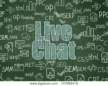 Web development concept: Chalk Blue text Live Chat on School board background with  Hand Drawn Site Development Icons, School Board