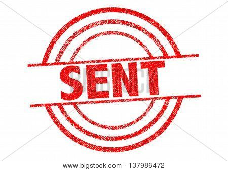SENT red Rubber Stamp over a white background.