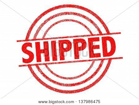 SHIPPED red Rubber Stamp over a white background.