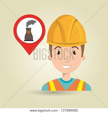 man and tower nuclear isolated icon design, vector illustration  graphic