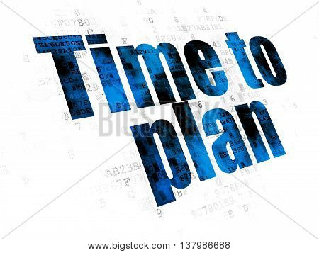 Time concept: Pixelated blue text Time to Plan on Digital background