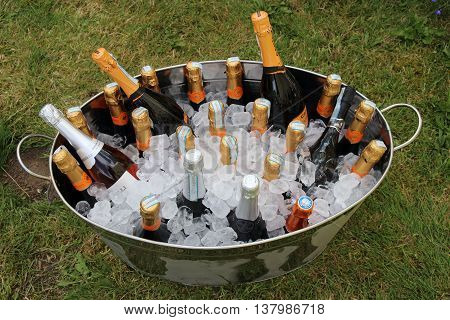 2ND JULY 2016, PORTSMOUTH, ENGLAND: A large tin bath full of drink and ice for a celebration of a marriage in Portsmouth, England, 2nd july 2016