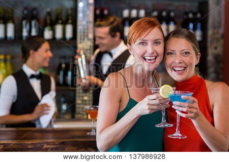 Portrait of friends holding a cocktail in front of bar counter in bar