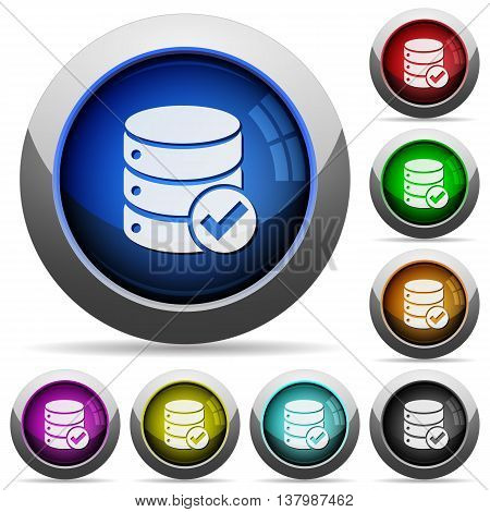 Set of round glossy Database ok buttons. Arranged layer structure.
