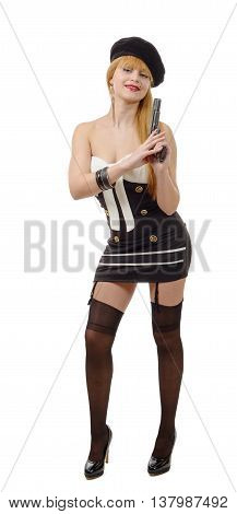 pretty young sexy woman with a gun on white background